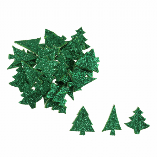 Glitter Foam Trees Green 60 Pieces